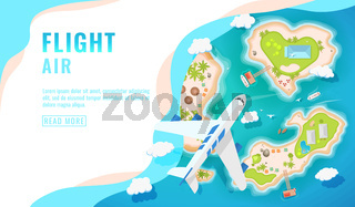 Landing page design, banner with airplane flying over tropical island, top view., passenger aircraft, plane, tourism concept, vector
