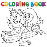 Coloring book kids in boat theme 1