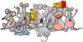 cartoon mice characters with cheese