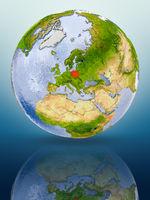Poland on globe