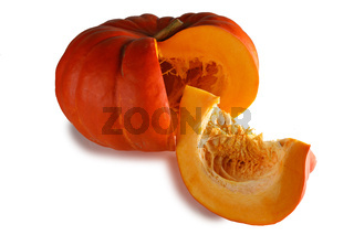 Cut pumpkin on white
