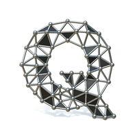 Wire low poly black metal Font Letter Q 3D