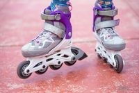 Close up on roller skate shoes. Concept of youth, and sport lifestyle.