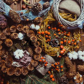 Nature wreath making top view on the table