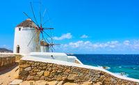 Windmills on the seashore in Mykonos