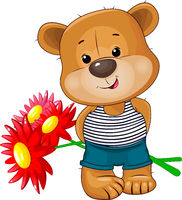 Cute bear with a bouquet of flowers