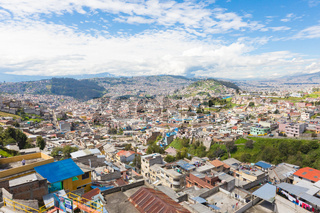 panorama of Quito  from the El Tejar district by day