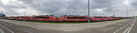 row of old red electric locomotives