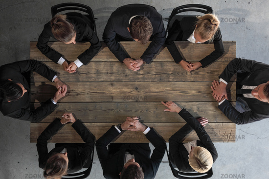 Business team sitting at table