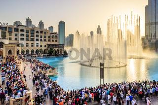View of Dubai Fountains at Downtown Dubai from Apple Store Balcony in Dubai Mall. Dubai - UAE. 28 April 2017.
