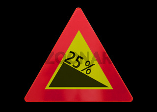 Traffic sign isolated - Grade, slope 25%