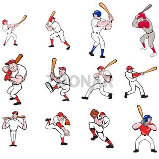 Baseball Player Cartoon Set