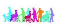 disabled people and seniors, set-illustration