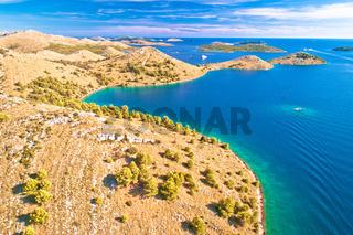 Amazing Kornati Islands national park archipelago aerial view