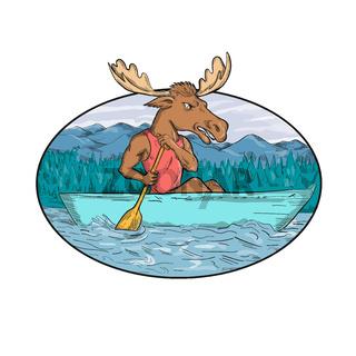 Moose Paddling Canoe Drawing Oval