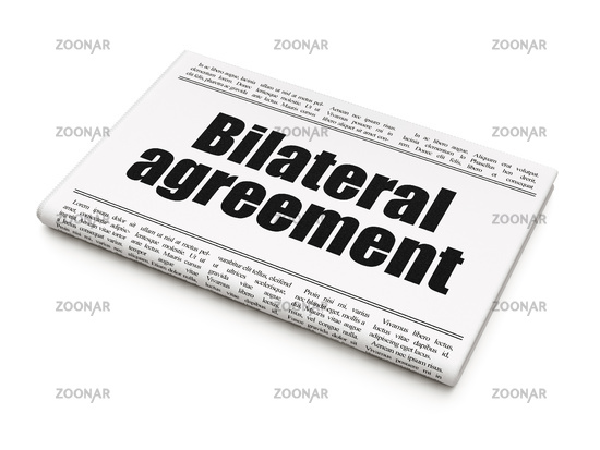 Photo Insurance Concept Newspaper Headline Bilateral Agreement