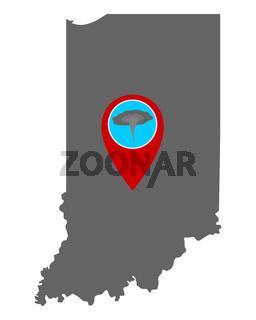 Karte von Indiana und Pin Tornadowarnung - Map of Indiana and pin tornado warning