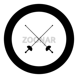 Swords for fencing icon black color vector illustration simple image