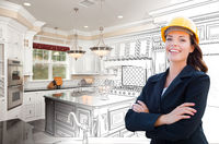 Smiling Female Contractor Over Kitchen Drawing Gradating to Photo