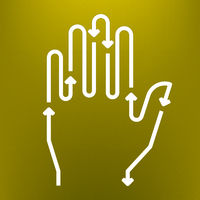 Hand icon in white with arrows. Direction symbol.