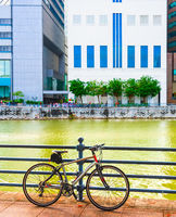 Parked bicycle, Singapore city quay