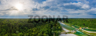 The beautiful drone view over the Isar river.
