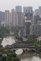 Chengdu Anshun bridge and Jingjiang river aerial view