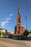 Arendal, Norway - June 5, 2018: The Trinity Church in the city of Arendal is a parish church in the Arendal municipality Norway.