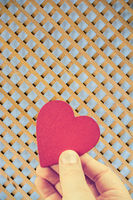Red heart shaped object as valentine day concept