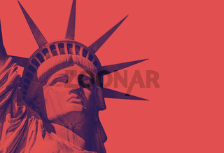 detail of the face of the statue of liberty with a red duo tone effect