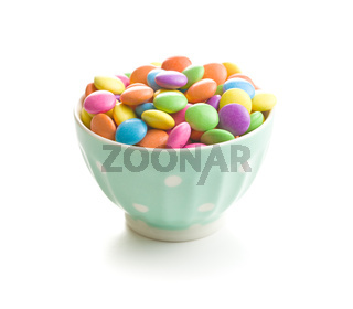 Colorful chocolate candy pills.