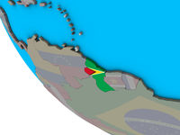 Guyana with flag on 3D globe