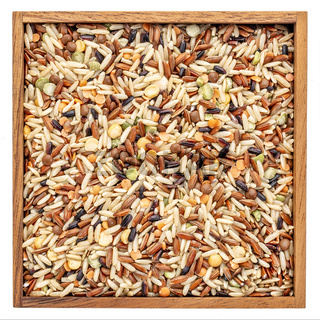 pilaf mix in a isolated wooden box