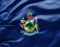 Waving state flag of Maine - United States of America