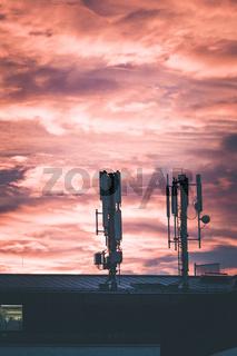 Transmitter, sunset, surveillance