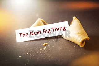 a fortune cookie with message the next big thing