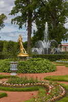 Golden statue at Peterhof Gardens, close to St. Petersburg in Russia
