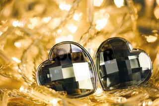 Two gemstone hearts