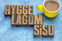 hygge, lagom and sisu - scandinavian lifestyle concepts
