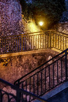 Nightshot of a flight of stairs in the old village of Nice