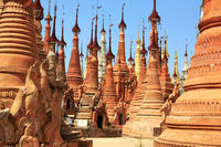 Some of the 1054 pagodas of the Indein pagoda forest at Inle Lake in Myanmar
