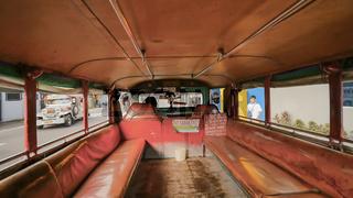 Legazpi, Philippines - January 5, 2018: Salon empty Filipino jeepney taxi.