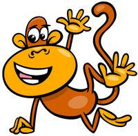 happy monkey animal character cartoon illustration
