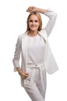 Young business woman in white costume cropped shot