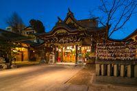 Kushida Shrine at night in Hakata, Fukuoka, Japan