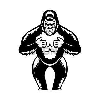 Silverback Gorilla Beating Chest Woodcut