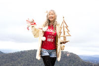 Cheeky Aussie girl celebrating Christmas in July Blue Mountains Australia