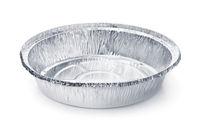 Empty disposable round aluminium food foil container