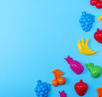 multicolored plastic toys fruits