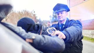 Polizei mit Blaulicht bei Festnahme im Einsatz